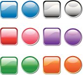 Vector buttons in  6 colors.