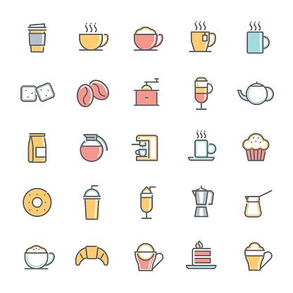colorful cafe minimalist line icon set