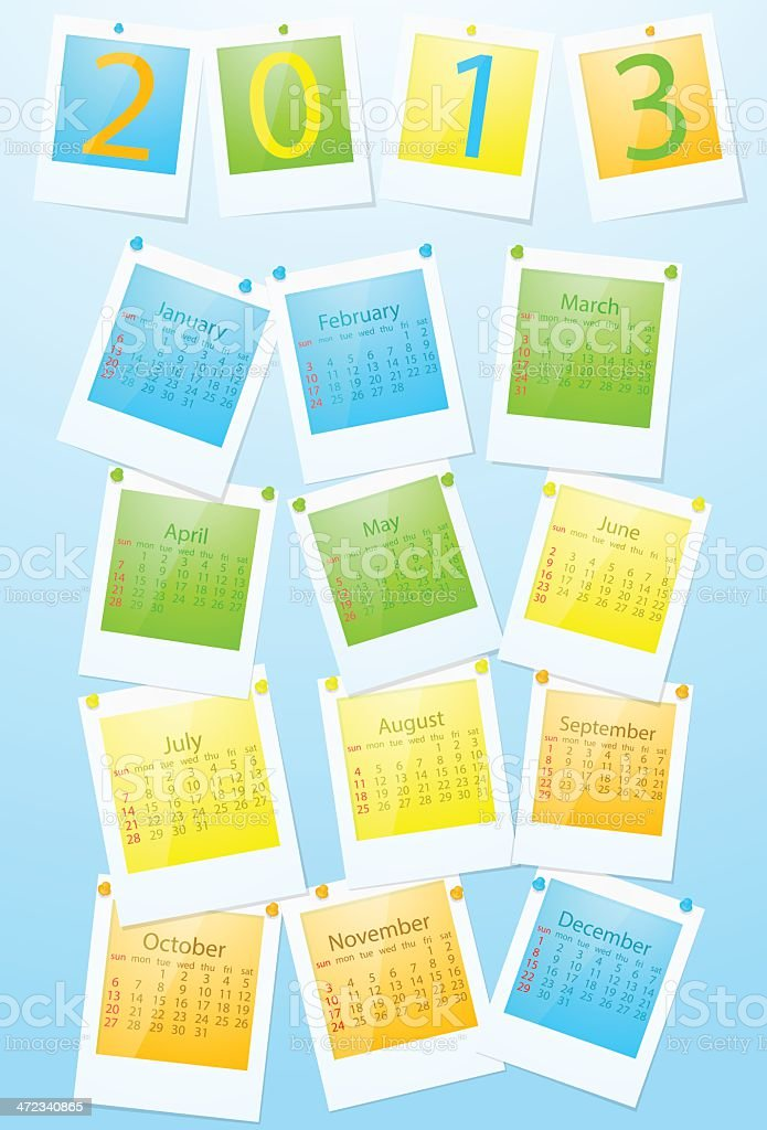 Colorful calendar 2013 royalty-free colorful calendar 2013 stock vector art & more images of 2013