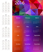 Colorful calendar 2015, 2016, 2017, 2018, 2019 year.