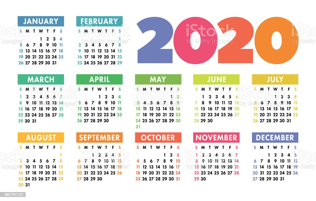 Fun 2020 Calendar Colorful Calendar 2020 Bright Fun Cute Week Starts On Sunday