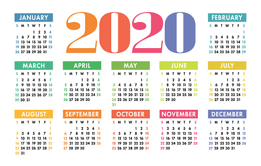 Colorful Calendar 2020 Bright Fun Cute Week Starts On ...