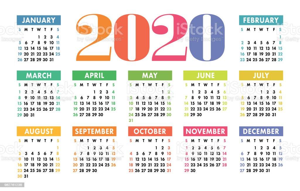 colorful calendar 2020 bright fun cute week starts on sunday motley varicoloured ready design