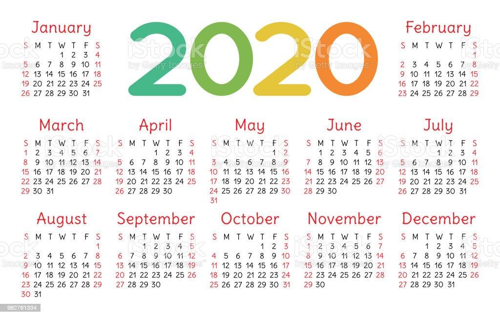 Fun Calendars 2020 Colorful Calendar 2020 Bright Fun Cute Week Starts On Sunday