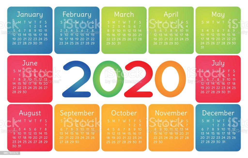 Vector De Calendario 2020.Colorful Calendar 2020 Bright Fun Cute Week Starts On Sunday