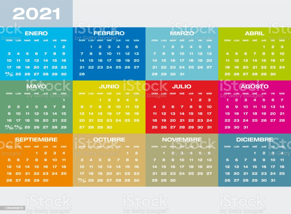 Cuny 2022 Calendar.Colorful Calendar For Year 2021 In Spanish Stock Illustration Download Image Now Istock