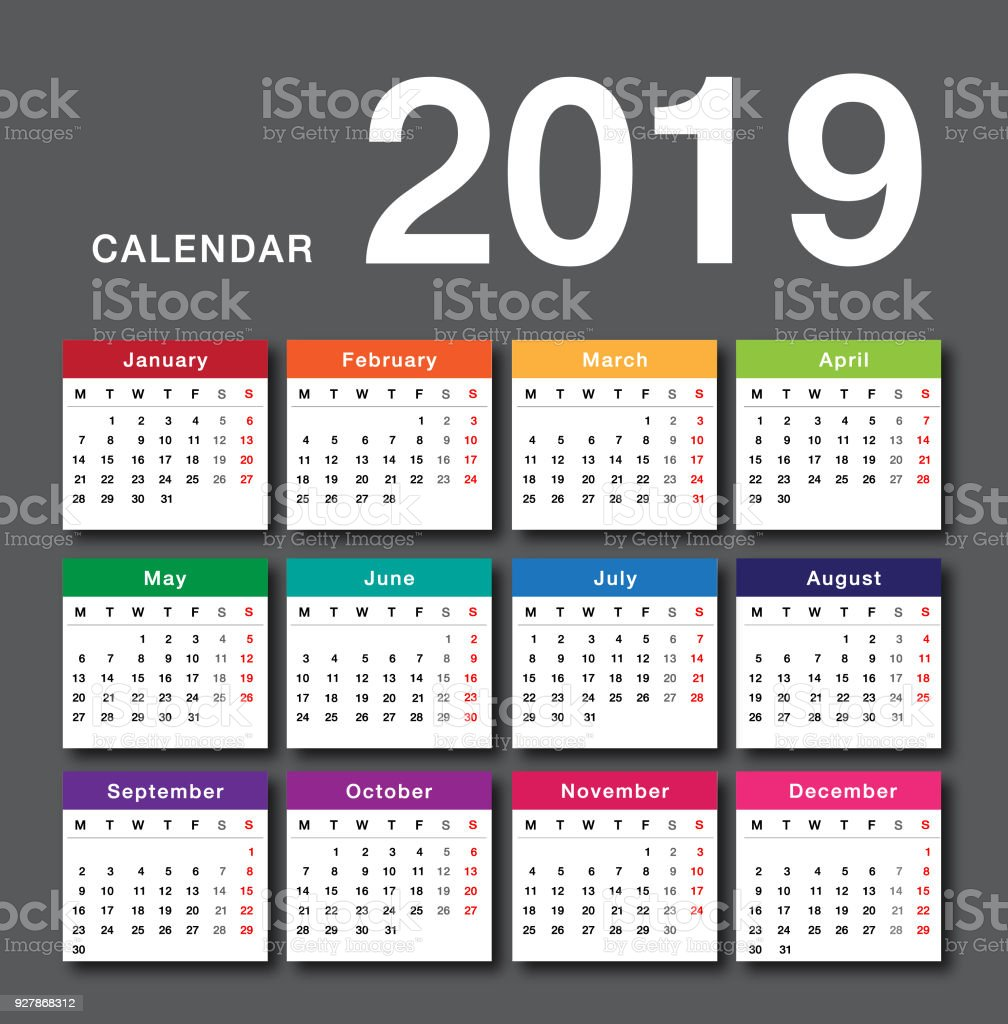 Colorful Calendar year 2019 vector design template, simple and clean design. vector art illustration