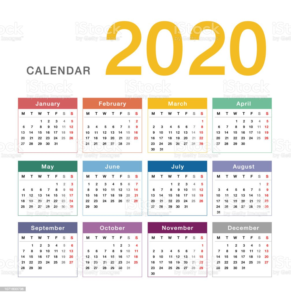 Colorful Calendar Year 2020 Vector Design Template Simple