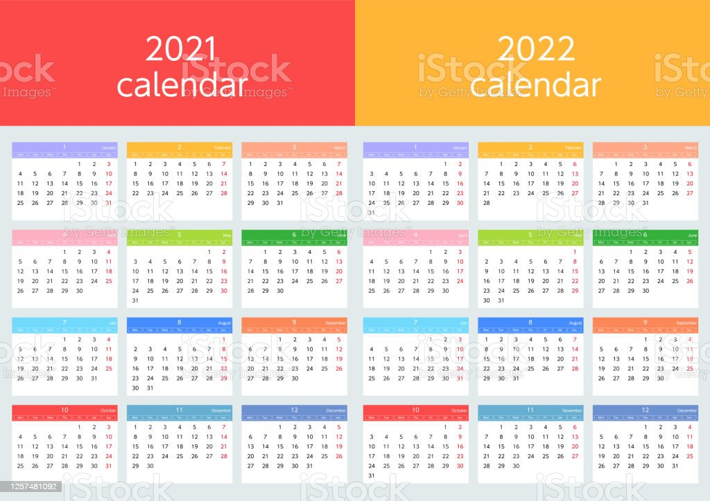 Colorful Calendars Starting On Sundays In 2021 And 2022 ...