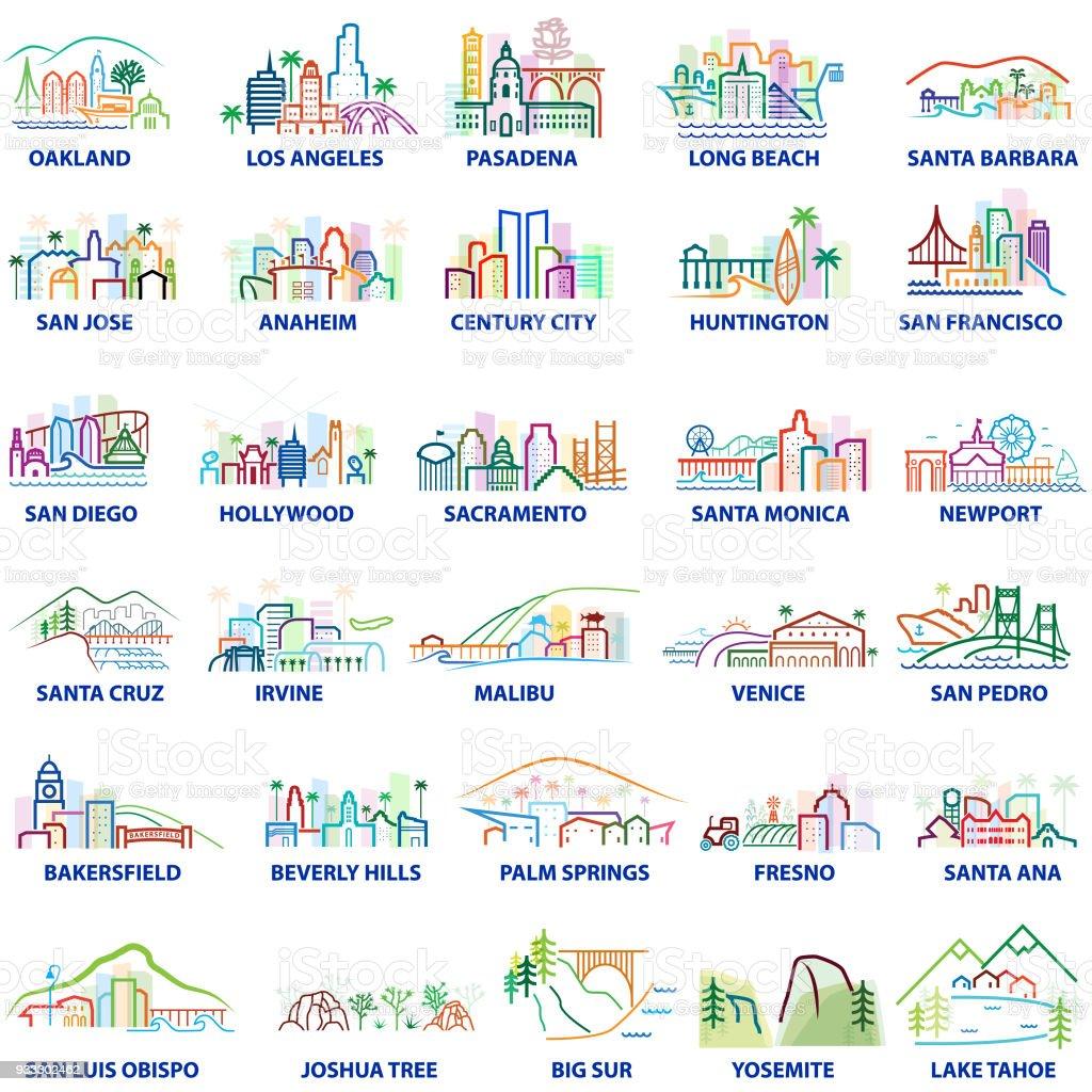 Colorful California Cityscapes vector art illustration