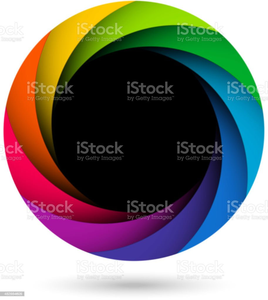 Colorful camera shutter aperture vector art illustration