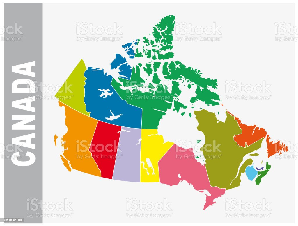 Colorful canada map with provinces and boundary vector art illustration