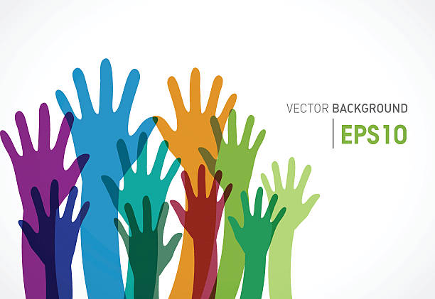 Colorful candidates community of human hands vector art illustration