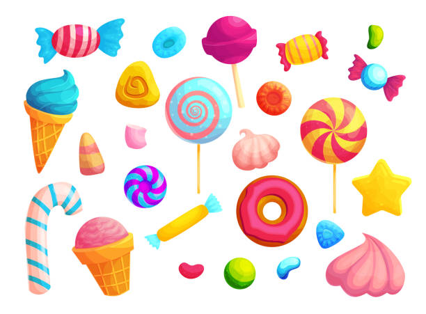 bunte bonbons und lutscher cartoon vektor illustrationen set - gummibonbon stock-grafiken, -clipart, -cartoons und -symbole