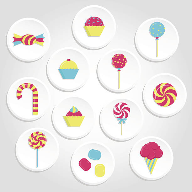 Colorful candy icons Circular and colorful candy icons with lollipops, ice cream, bubble gum and several candies gum drop stock illustrations