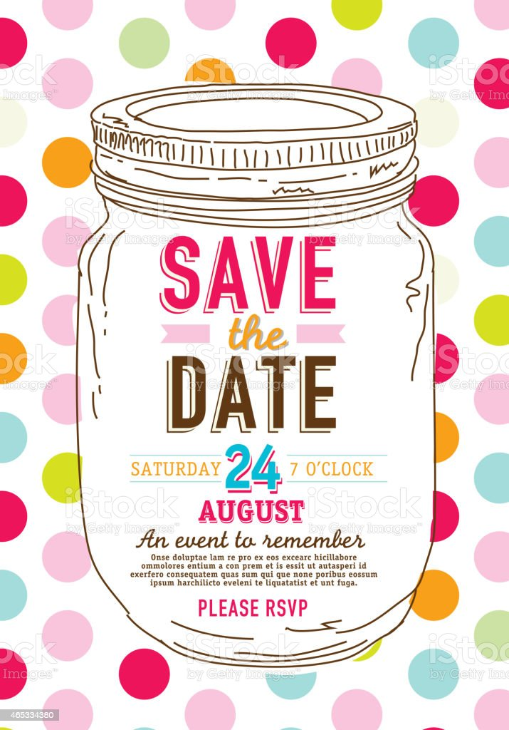 colorful canning jar save the date invitation on polkadot background