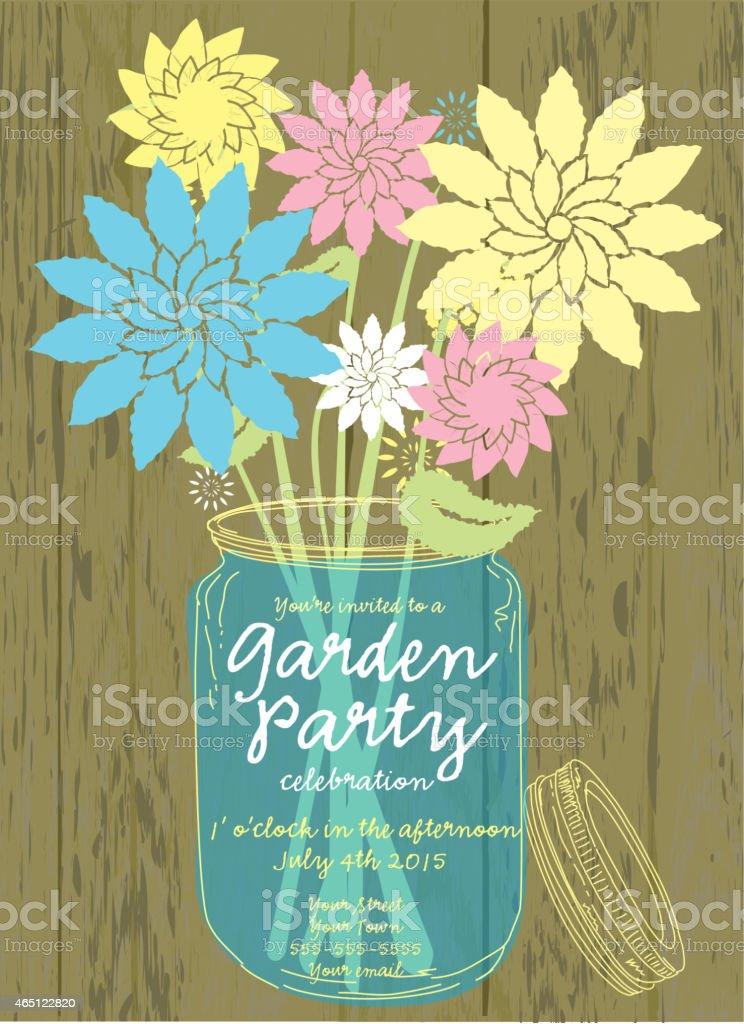 Colorful Canning jar spring Garden Party invitation design template vector art illustration