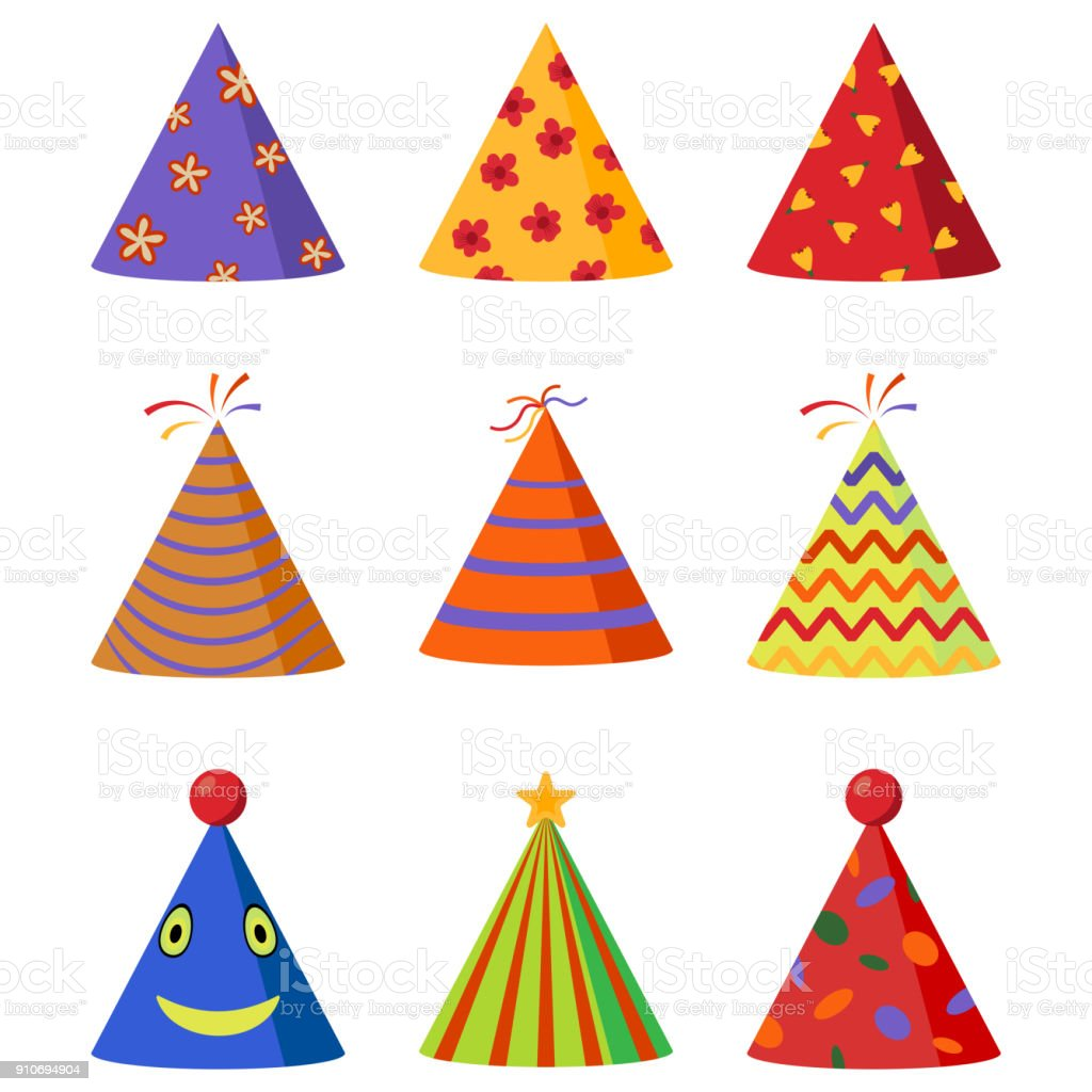 Colorful Caps set. Party hat cone collection. Accessory, symbol of the holiday. Birthday . Vector illustration. vector art illustration