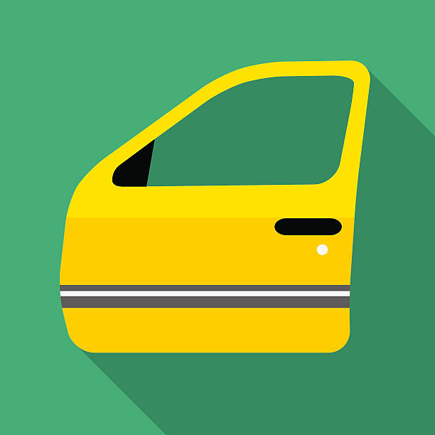 Colorful car door icon in modern flat style Colorful car door icon in modern flat style with long shadow. Car parts and service vector illustration vehicle door stock illustrations