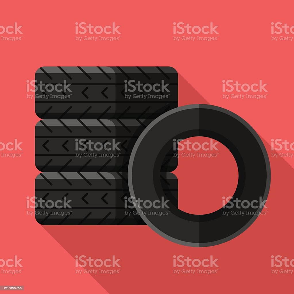 Colorful car tires icon in modern flat style vector art illustration
