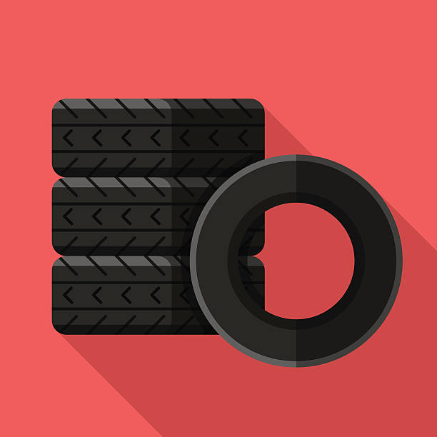 Colorful car tires icon in modern flat style Colorful car tires icon in modern flat style with long shadow. Car parts and service vector illustration tires stock illustrations