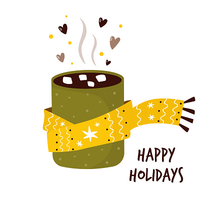 Colorful card with cup of cocoa and marshmallow. Winter greetings. Vector illustration