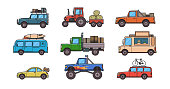 Colorful cars and trucks. Types of cars. Different cars for different purposes. Set of isolated images on white background. Vector illustration, flat style.