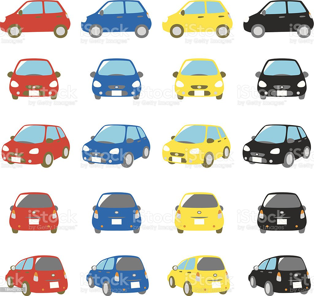 colorful cars set vector art illustration