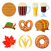 Colorful cartoon 10 oktoberfest elements set. Beer festival collection. Autumn festive vector illustration for icon, sticker, patch, label, badge, certificate or banner decoration