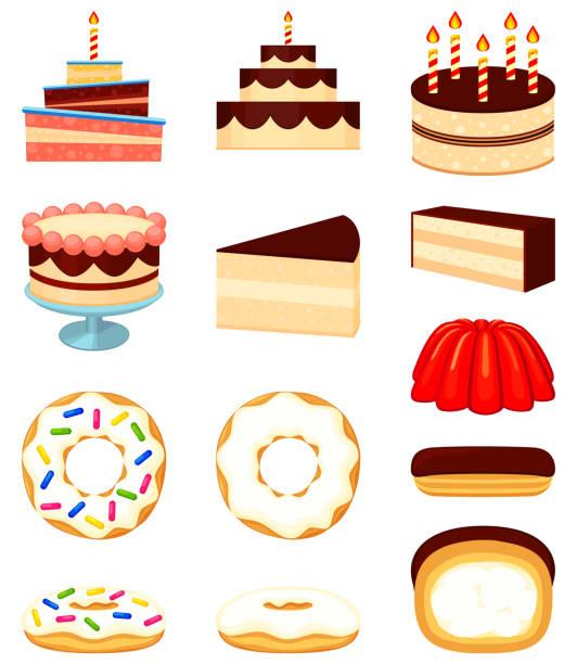 bunten cartoon-12 dessert-icon-set - wackelpuddingkekse stock-grafiken, -clipart, -cartoons und -symbole