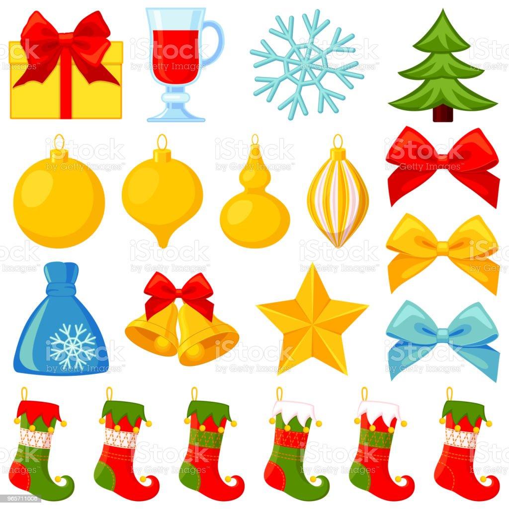 Ilustracion De Dibujos Animados Coloridos Elementos De Navidad 20 Y