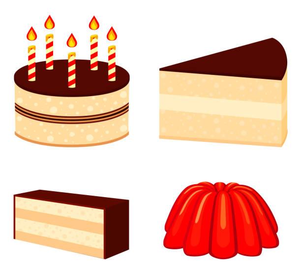 bunten cartoon 4 dessert-satz - wackelpuddingkekse stock-grafiken, -clipart, -cartoons und -symbole