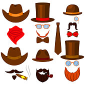 Colorful cartoon 6 western man avatars set