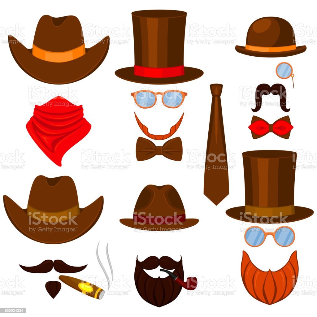 Colorful cartoon 6 western man avatars set vector art illustration