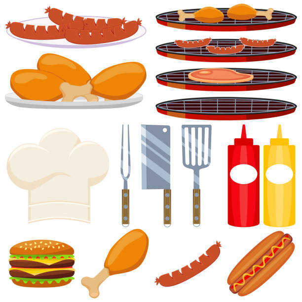 Colorful Cartoon Bbq Cooking 15 Element Set Vector Art Illustration