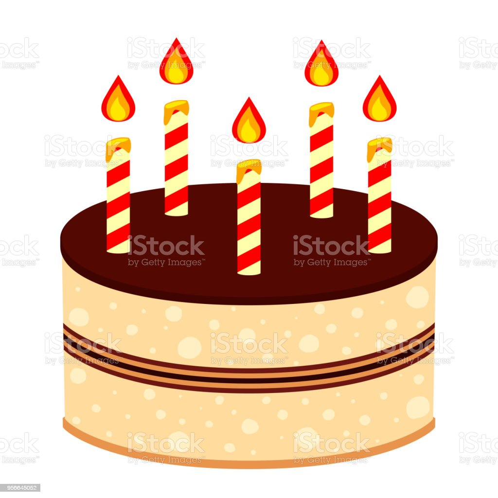 Colorful Cartoon Birthday Cake 5 Candles Royalty Free Stock