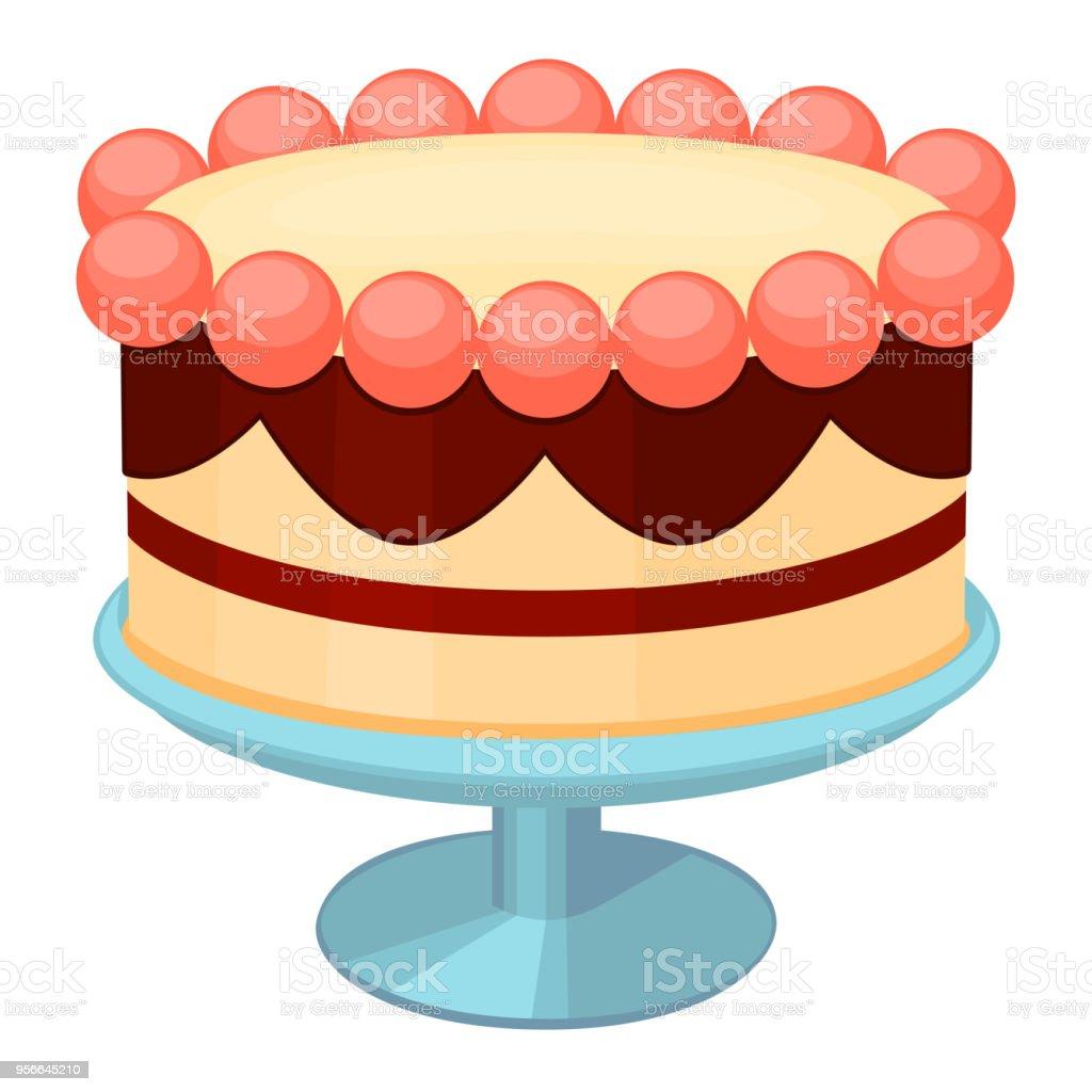 Fantastic Colorful Cartoon Birthday Cake On Stand Stock Illustration Funny Birthday Cards Online Kookostrdamsfinfo