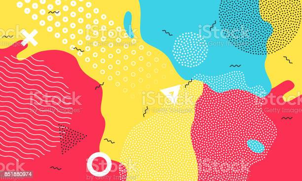 Colorful Cartoon Color Splash Background Childish Playground Vector Abstract Geometric Kid Design Stock Illustration - Download Image Now