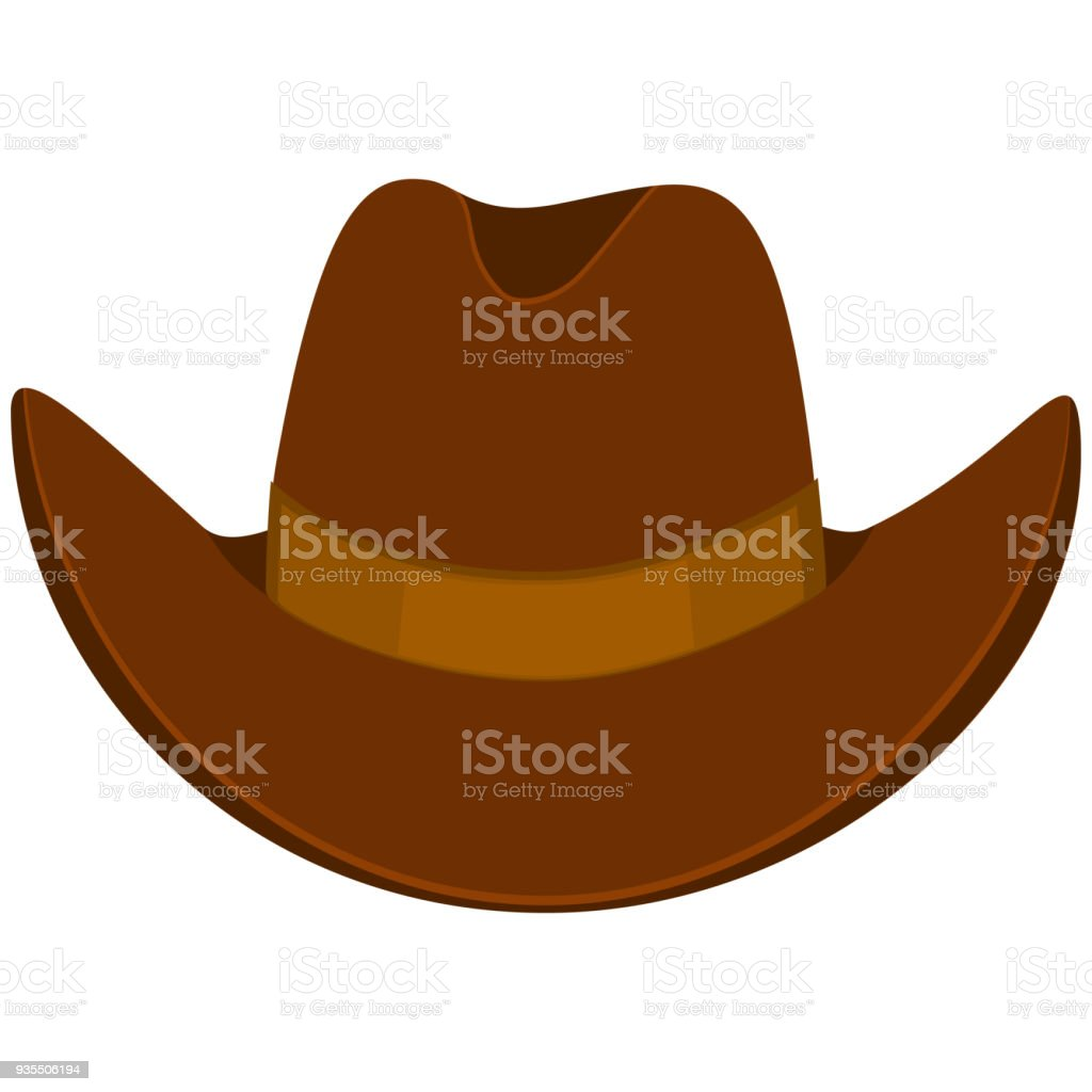 Colorful cartoon cowboy hat vector art illustration