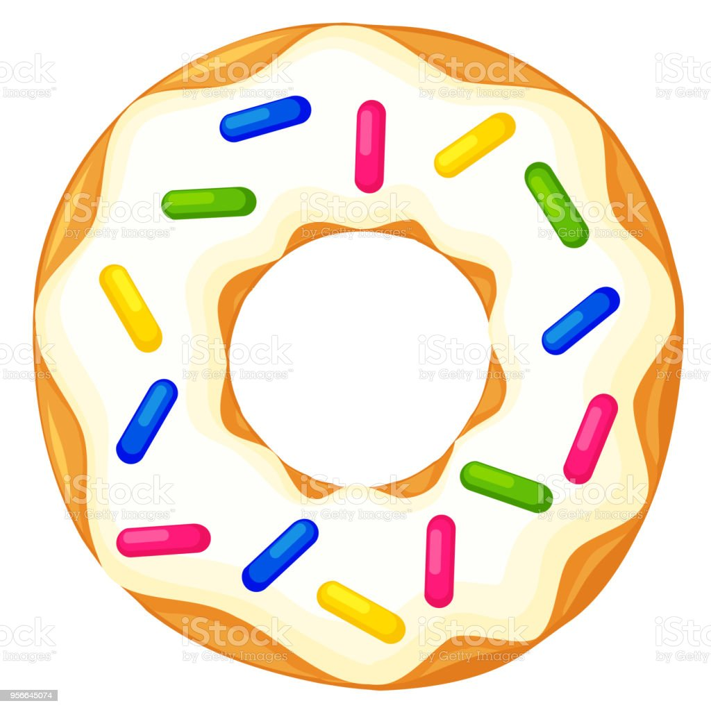 Colorful Cartoon Donut With Sprinkles Top View Stock ...