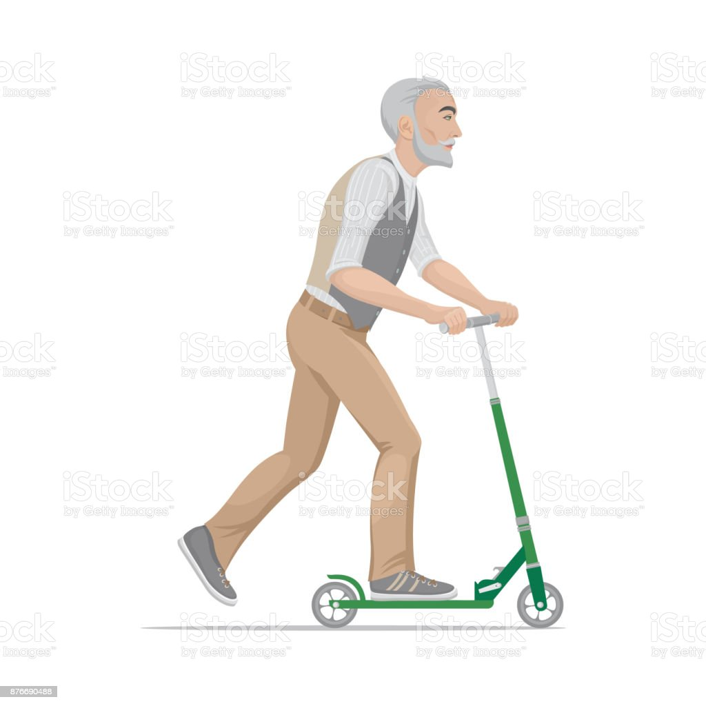 A colorful cartoon drawing, elderly fashionable, sports hipster man is riding a scooter. Vector illustration, isolated on background. vector art illustration