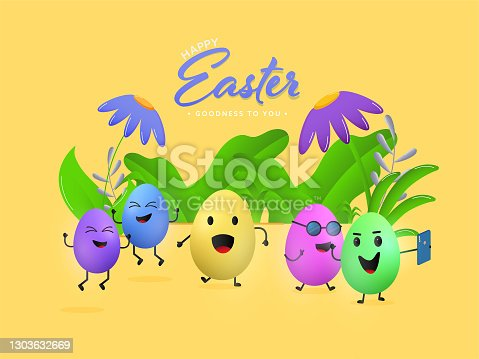 istock Colorful Cartoon Eggs Dancing With Take Selfie, Flowers And Leaves On Yellow Background For Happy Easter Celebration. 1303632669