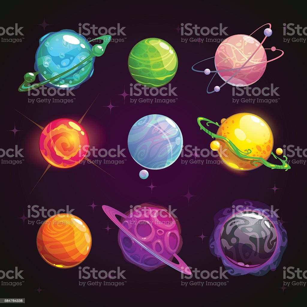 Colorful cartoon fantasy planets set vector art illustration
