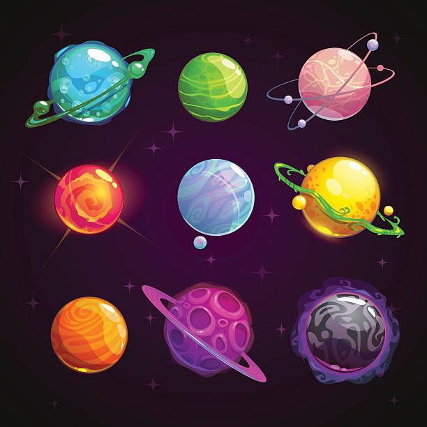 Colorful cartoon fantasy planets set vector art illustration