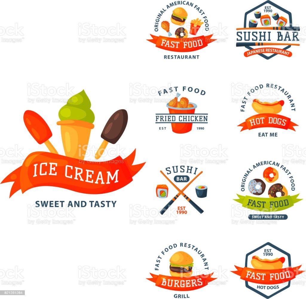 Ilustración De Logo De Dibujos Animados Coloridos Comida Rápida