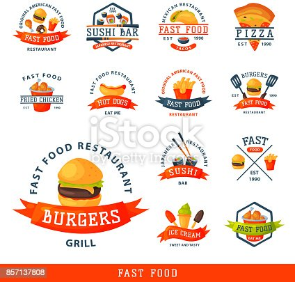 Colorful cartoon fast food label symbol isolated restaurant tasty american cheeseburger badge mea meal vector illustration