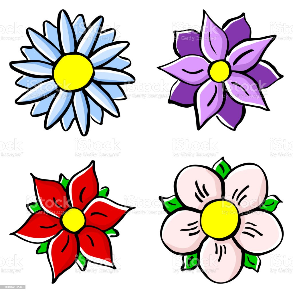 Colorful Cartoon Flowers Stock Illustration - Download Image