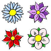 Ilustracion De Flores Colores Dibujos Animados Y Mas Banco De