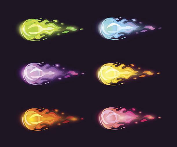 Colorful cartoon flying fireballs set. vector art illustration