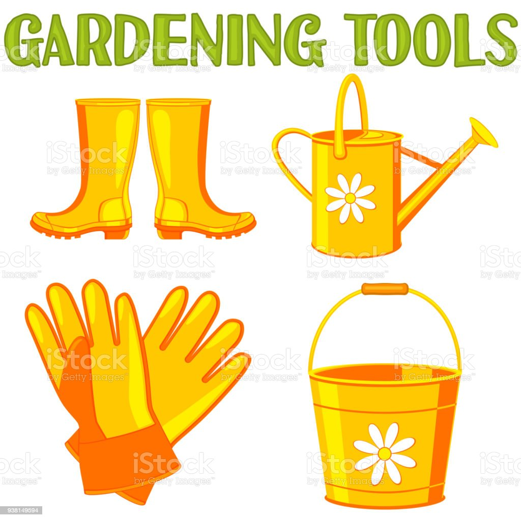 Colorful cartoon garden watering 4 elements set. vector art illustration